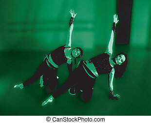 Two Dancers On Green