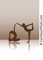 Two dancers on the brown background