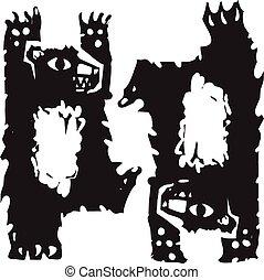 Two Dancing Bears - Woodcut style image of two dancing...