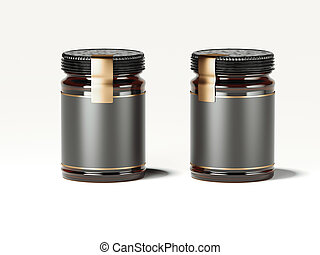 Two dark jars with golden labels. 3d rendering
