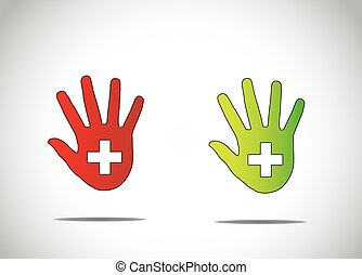 two dark red and green human hand silhouette with medical plus symbol in the middle abstract art