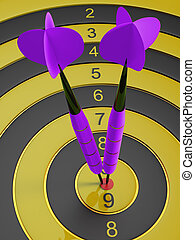 Two darts hitting the bullseye aim. concept of success 3d illustration