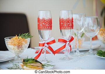 two decorative champagne glasses