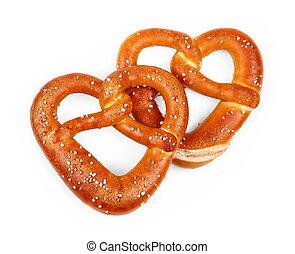 Two delicious Bavarian pretzel in heart shape