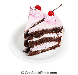 Two delicious pieces of chocolate cake with cherry cream and...