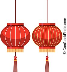 Two designs of chinese lantern in red