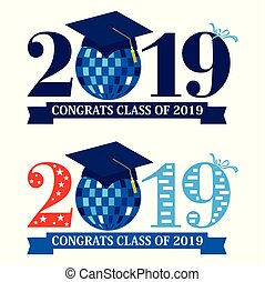 Two designs with Congrats Class of 2019 with a graduation...