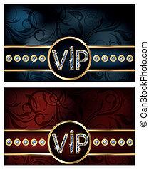 Two diamond VIP card, vector illustration