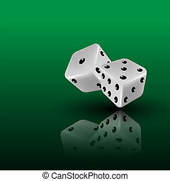 dice - two dice on green background with reflection,...
