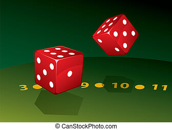 Two dice on green table