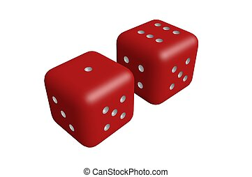 Two dice rolled to seven isolated with copy space 3D render