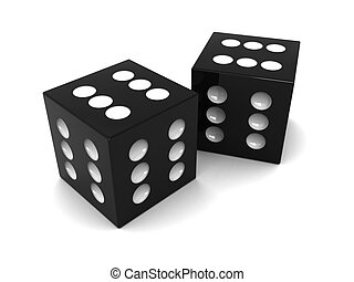 two dices - 3d illustration of two always winning dices, ...
