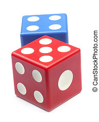 Two dices over white background