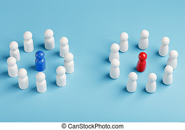Two different Groups of white people stand around the blue and red leadership candidates separately. Competition in business between the firms and the teams.