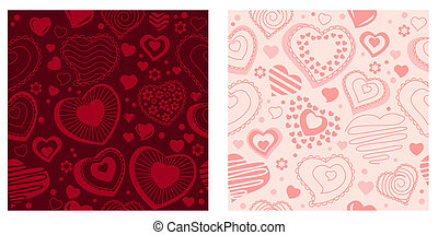 Two different seamless  backgrounds with contour hearts