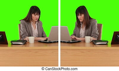 Two different situations of a businesswoman at her desk