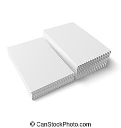 Two different stacks of blank business card.