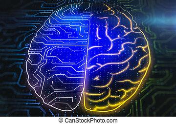 Two digital cerebral hemispheres of human brain.