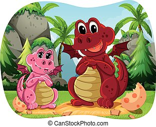 Two dinosaur sitting in the forest