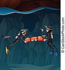 Two divers carring a child in a cave