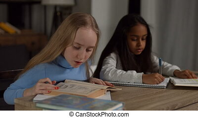 Two diverse teeanage girls doing homework at home