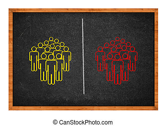 Conceptual drawing on a blackboard showing two groups of people, symbolizing the concept of division, conflict, polarization.