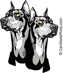 Two Dobermann Pinscher heads in tattoo style. - Vector black...