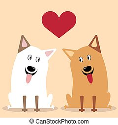 Two dogs flat icon vector