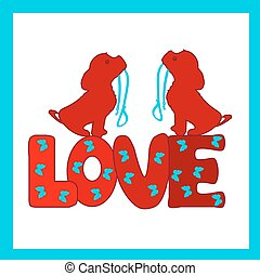 Two dogs with a collar in their teeth and a red inscription LOVE, a cartoon in a frame on a white background.