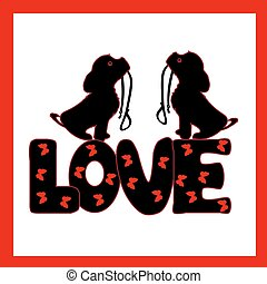 Two dogs with a collar in their teeth silhouette black and the inscription LOVE, a cartoon in a frame on a white background.