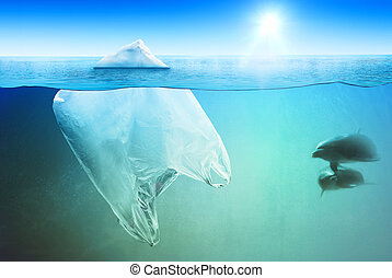Two dolphins swimming near plastic bag in the open sea