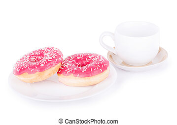 Two donut on a plate with a cup