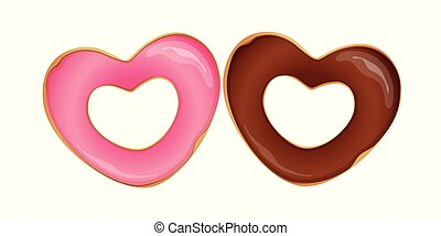 two donuts in heart shaped with chocolate and pink glaze