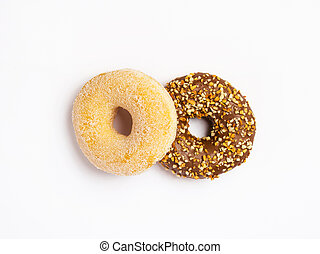 two donuts isolated on white background, top view