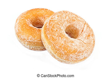 Two donuts powdered isolated on white - Two donuts powdered...