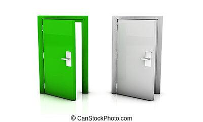 Two door open in 3d