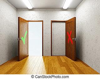 Two doors & Two doors in a empty room. 3d rendered illustration. clip art ...