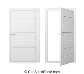 Two doors isolated on white background. 3d rendering