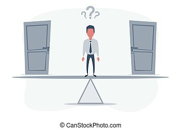 Two doors, men unable to make the right decision concept with question marks above his head