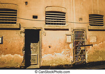 two doors of old prison at cairo citadel, egypt