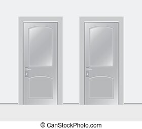 Two doors on a white background - Two white closed doors ...