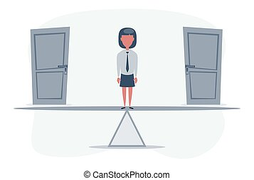 Two doors, Woman unable to make the right decision. Businesswoman standing on seesaw.
