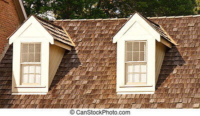 Two Dormers on Wood Shaker Roof - Two windows in dormers on ...