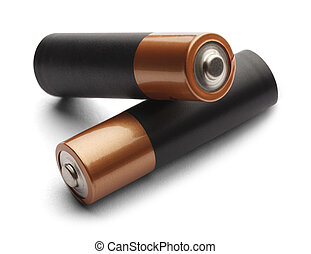 Two Double A Batteries - Blank AA Batteries Stacked on Each...