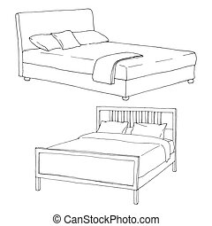 Two double bed isolated on white background. Vector illustration in sketch style.