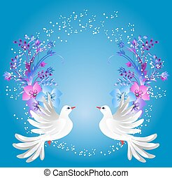 Two doves and floral ornament