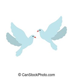 Two doves flat icon
