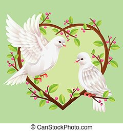 Two Doves on a heart shape tree. Vector illustration.