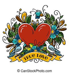 Two doves sit on ribbon and kiss. Tattoo red heart