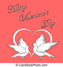 Two doves with a heart. Design Valentine's day background